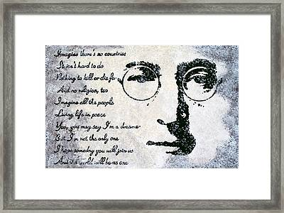 Imagine-john Lennon Framed Print by Bryan Dubreuiel
