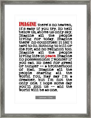 Imagine - John Lennon Framed Print by Nik Helbig