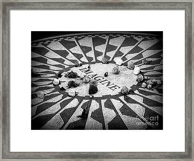 Imagine Memorial In New York City. Framed Print by Sophia Elisseeva