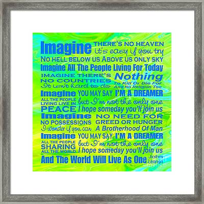 Imagine Song Lyrics - Landform Framed Print by Ginny Gaura