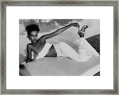 Iman Wearing A Yves Saint Laurent Skirt Framed Print