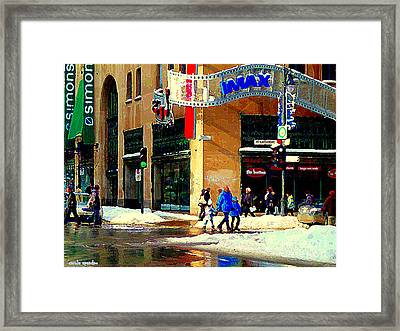 Imax Family Movie Day Cineplex Scotia Bank St Catherine Street Tim Hortons Cafe City Scene  Framed Print by Carole Spandau