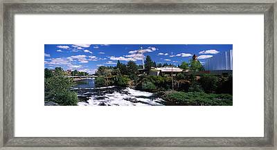 Imax Theater With Spokane Falls Framed Print by Panoramic Images
