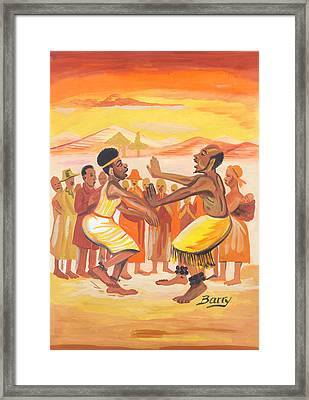 Framed Print featuring the painting Imbiyino Dance From Rwanda by Emmanuel Baliyanga