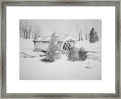 Imes Snow Bridge Framed Print by Tammie Temple