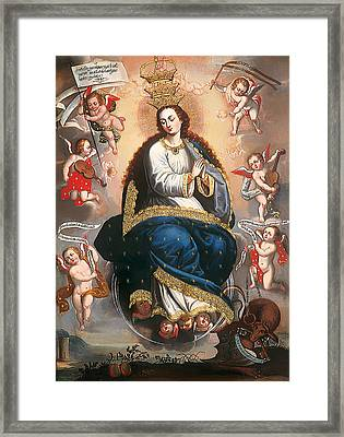 Immaculate Virgin Victorious Over The Serpent Of Heresy Framed Print by Mountain Dreams
