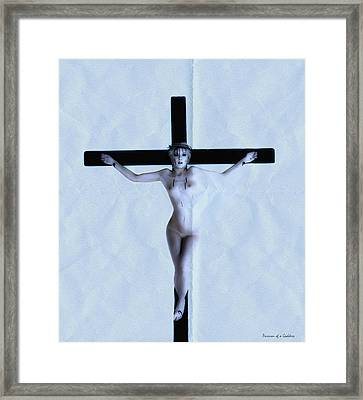 Immerse Crucifix Framed Print by Ramon Martinez