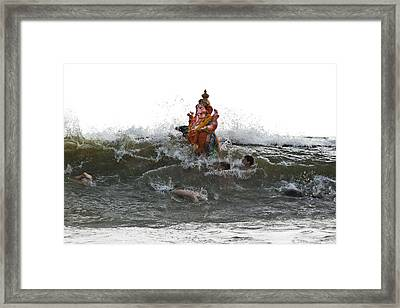 Immersion Of Lord Ganesha Framed Print by Sonny Marcyan