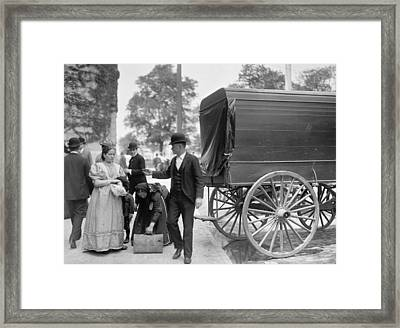 Immigrants At Battery Park, New York, N.y., C.1900 Bw Photo Framed Print