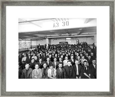 Immigrants Working At Ford Framed Print by Underwood Archives