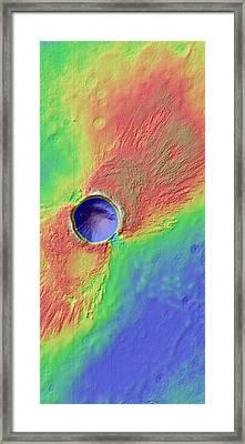 Impact Crater In Arcadia Planitia Framed Print