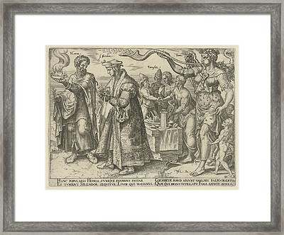 Impact Of Wealth, Philips Galle, Hadrianus Junius Framed Print by Philips Galle And Hadrianus Junius