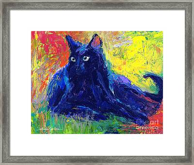 Impasto Black Cat Painting Framed Print by Svetlana Novikova