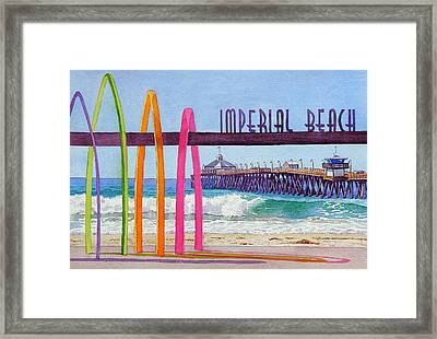 Imperial Beach Pier California Framed Print by Mary Helmreich