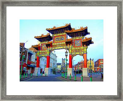 Imperial Chinese Arch Liverpool Uk Framed Print