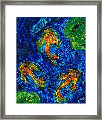 Impressionist Koi Fish By Sharon Cummings Framed Print