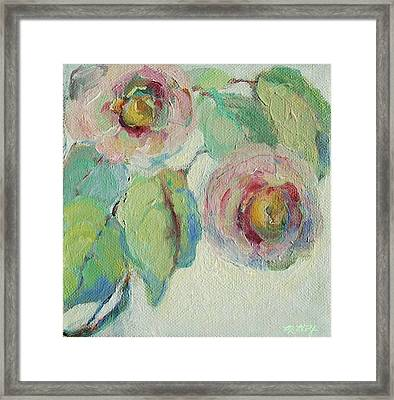 Framed Print featuring the painting Impressionist Roses  by Mary Wolf