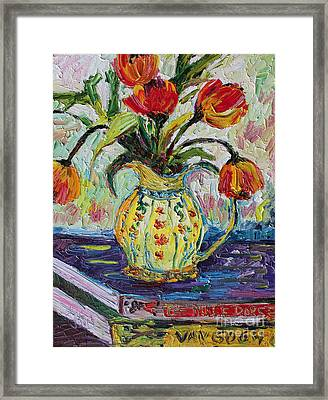 Impressionist Tulips In French Pottery Framed Print by Ginette Callaway