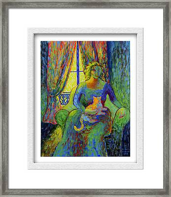 Impressionist Woman And Cat Framed Print by Eve Riser Roberts