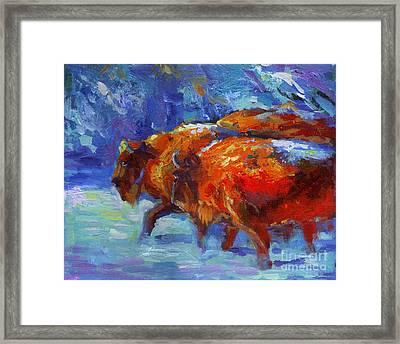 Impressionistic Buffalo Painting Framed Print