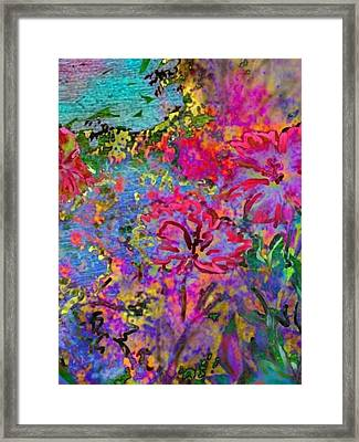 Impressionistic Magenta Hibiscus - Vertical Framed Print by Lyn Voytershark