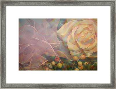Framed Print featuring the photograph Impressionistic Pink Rose With Ribbon by Dora Sofia Caputo Photographic Art and Design
