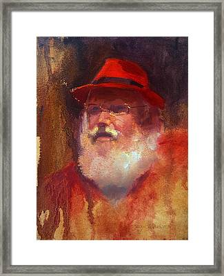 Impressionistic Santa With Rockin Red Fedora Framed Print