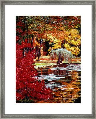 Impressions In Red And Gold Framed Print
