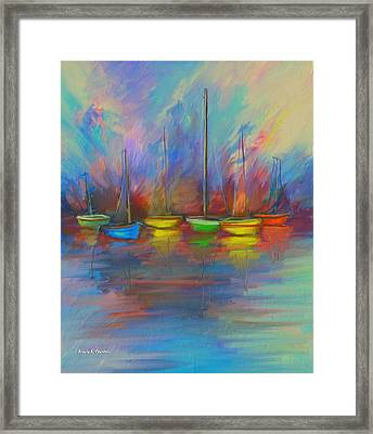 Impressions Of A Newport Beach Sunset Framed Print by Angela A Stanton