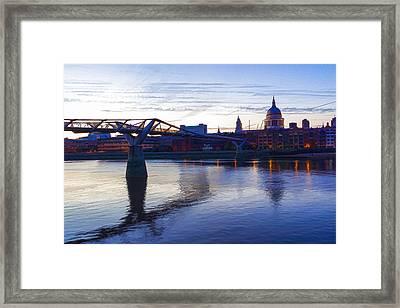 Impressions Of London In Purple Framed Print by Georgia Mizuleva