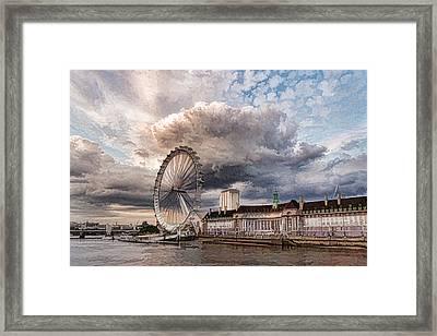 Impressions Of London - London Eye Dramatic Skies Framed Print by Georgia Mizuleva