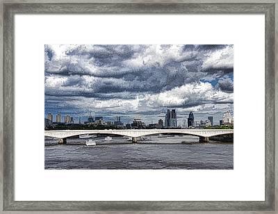 Impressions Of London - Stormy Skies Skyline Framed Print by Georgia Mizuleva