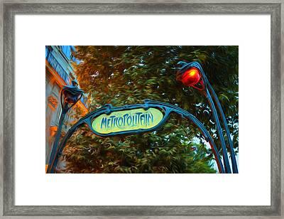 Impressions Of Paris - Metropolitan Sinuously Curved Lampposts Framed Print by Georgia Mizuleva