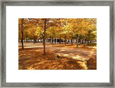 Impressions Of Paris - Tuileries Garden - Come Sit A Spell Framed Print by Georgia Mizuleva