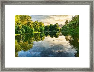 Impressions Of Summer - St James's Park Lake Reflections Framed Print by Georgia Mizuleva