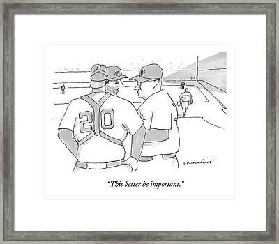 In A Baseball Game Framed Print