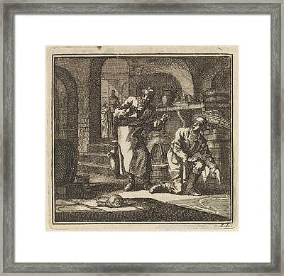 In A Basement Two Men Are Looking At The Trail Of A Snail Framed Print