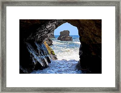 In A Cave By The Sea - Northern Caifornia Framed Print by Mark E Tisdale
