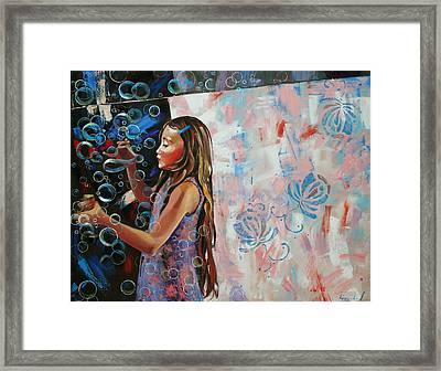 In A Country Blue Dragonflies  Framed Print by Anastasija Kraineva