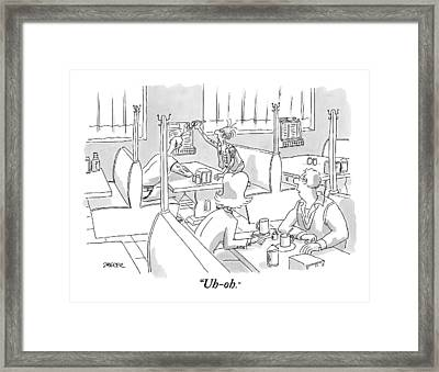 In A Diner A Couple Look At Two Punks In Another Framed Print