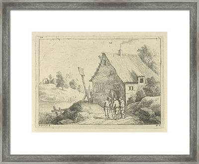 In A Hilly Landscape Are Three Men Talking Framed Print by Artokoloro