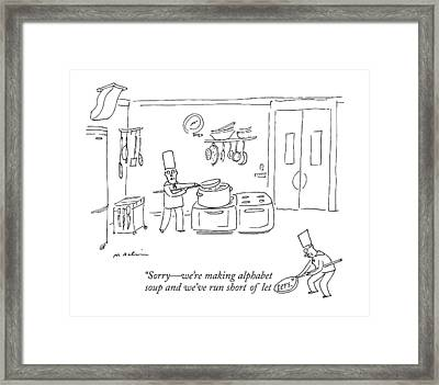 In A Kitchen Framed Print