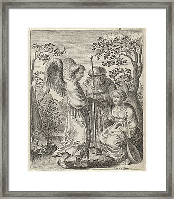 In A Landscape Is A Pilgrim With Pilgrims Staff Framed Print by Pieter Nolpe