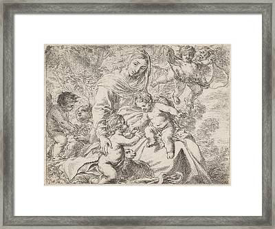 In A Landscape Is Mary With The Christ Child On Her Lap Framed Print by Cornelis Schut (i)
