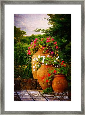 In A Portuguese Garden - Digital Oil Framed Print by Mary Machare