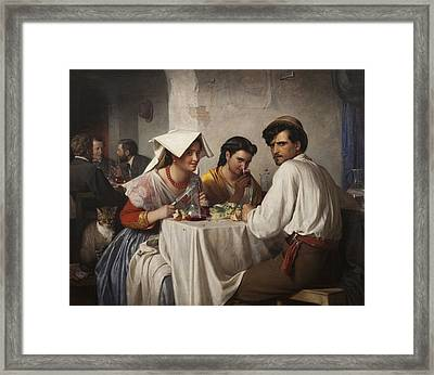 In A Roman Osteria Framed Print by Carl Bloch