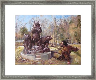 In A Tight Fix With A Group Of Bears Framed Print