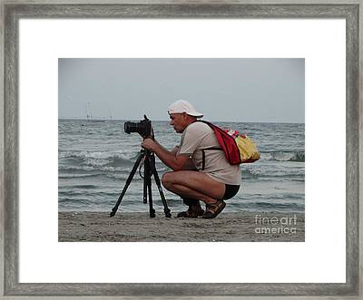 In Action On The Beach Framed Print