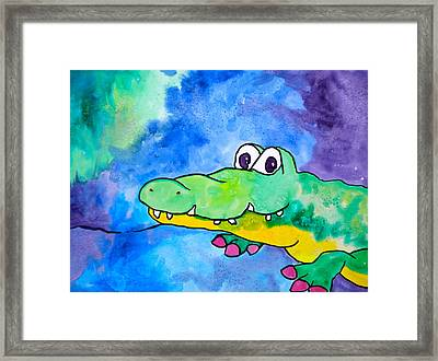 In Awhile Crocodile Framed Print by Debi Starr