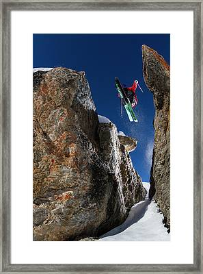 In Between The Rocks Framed Print